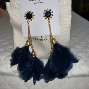 kate spade Jewelry - Kate Spade Navy Blue In Full Feather Earrings